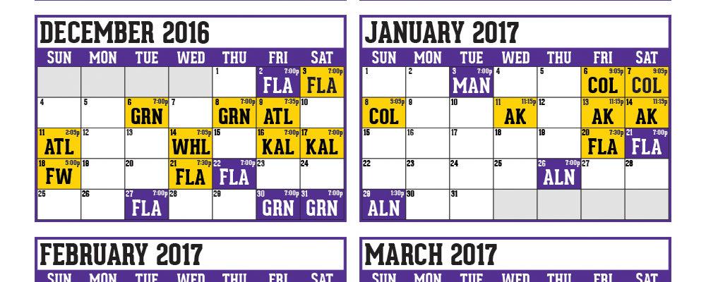 Calendário de jogos Orlando Solar Bears 2020