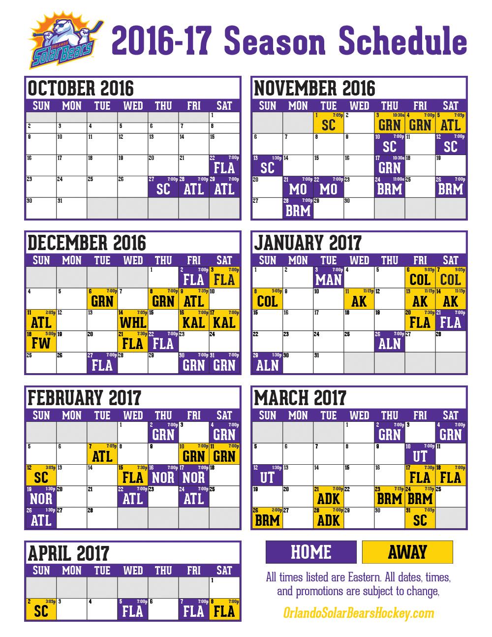 Calendário de jogos Orlando Solar Bears 2017