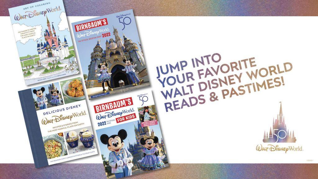 Collage of Disney books celebrating Walt Disney World Resort's 50th anniversary